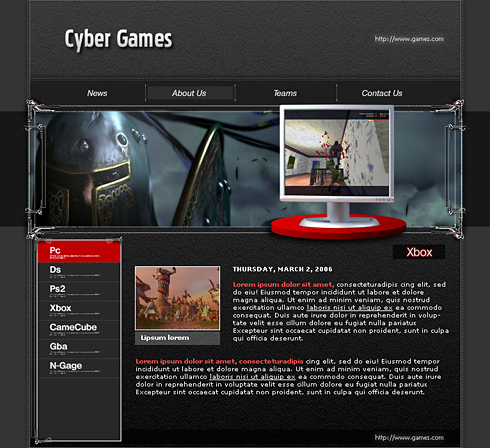 Template web site gaming