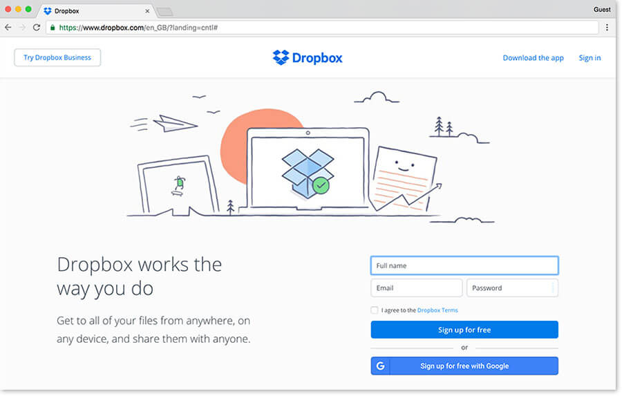 Dropbox hebergement site web