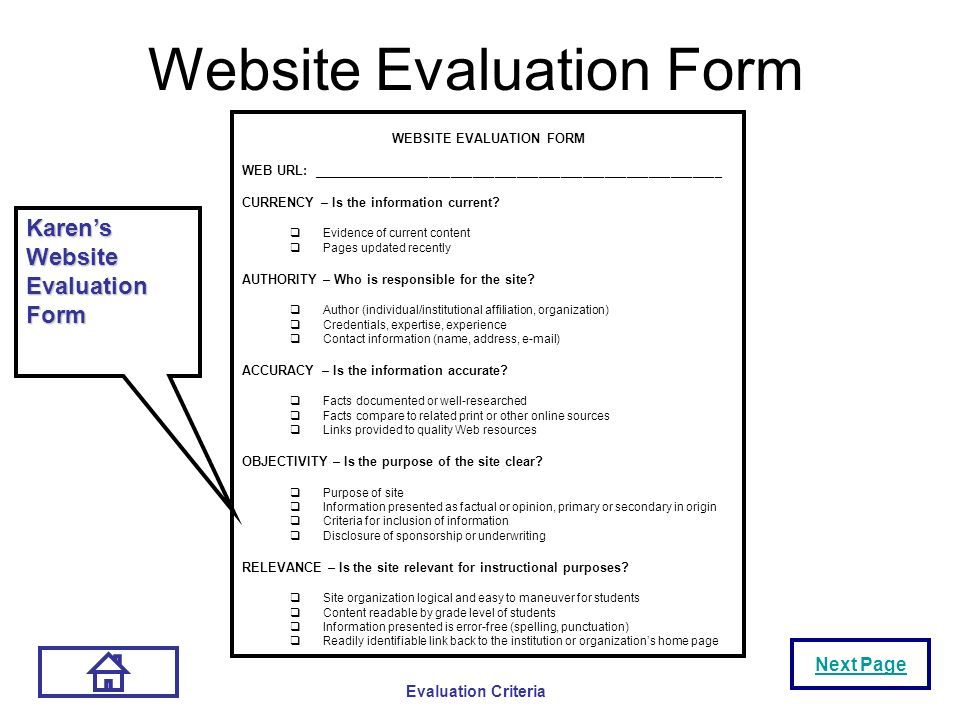 Site web evaluation